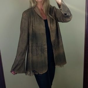 Faux suede jacket lace bell sleeve brown leather